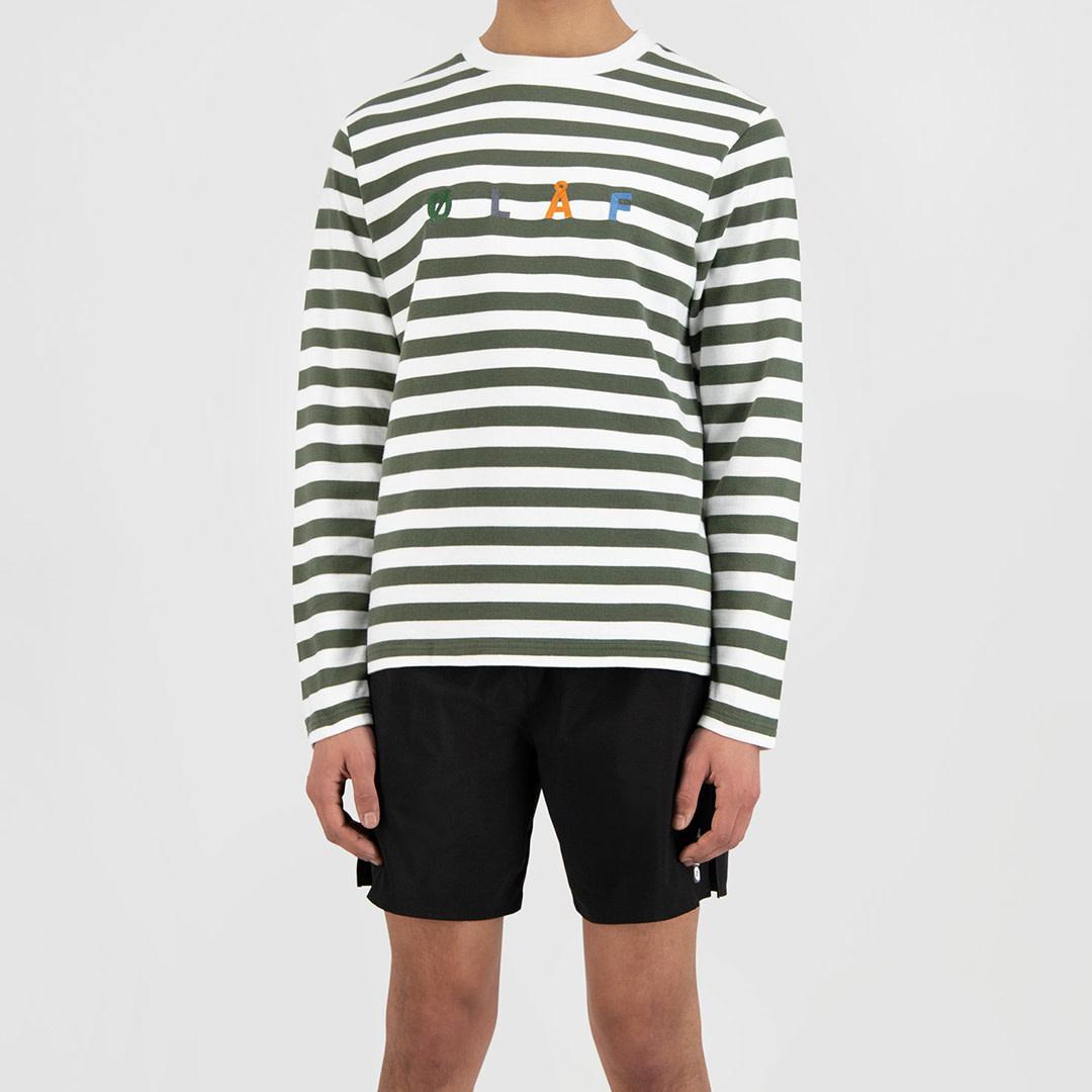 Stripe Sans LS Tee - White / Sage-1
