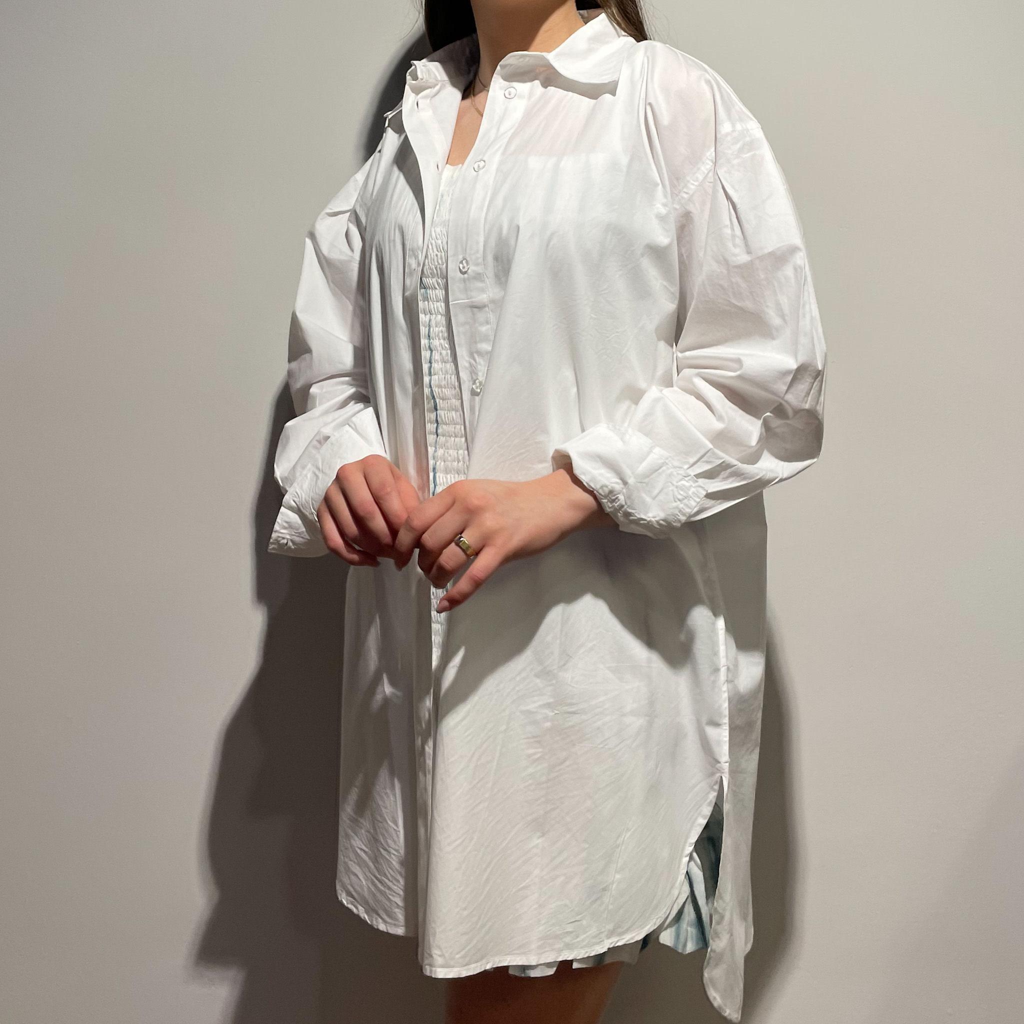 Alexis Blouse Dress - White-2