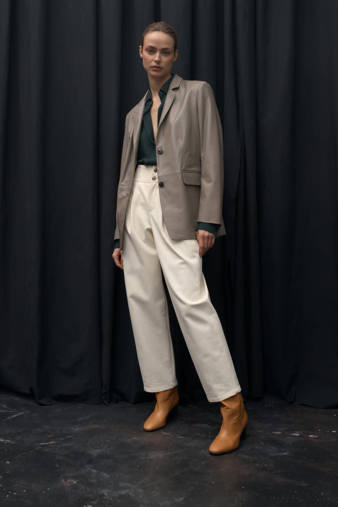 Nappa Leather Blazer - Dark Beige-1