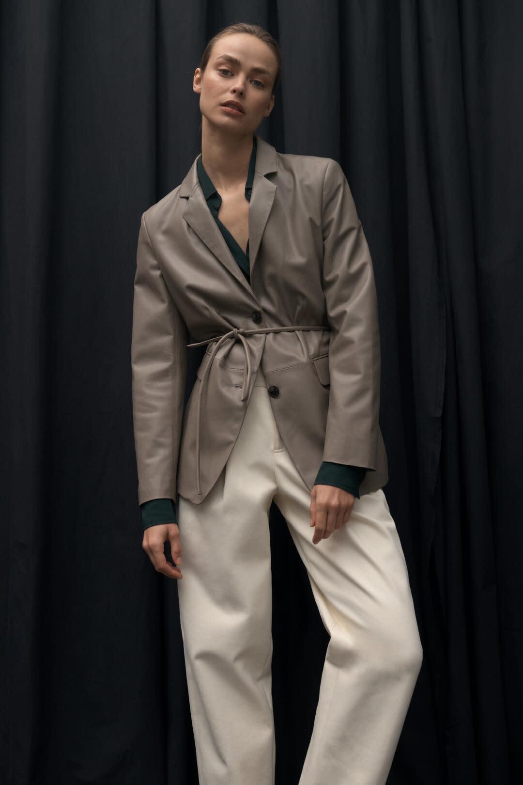 Nappa Leather Blazer - Dark Beige-2