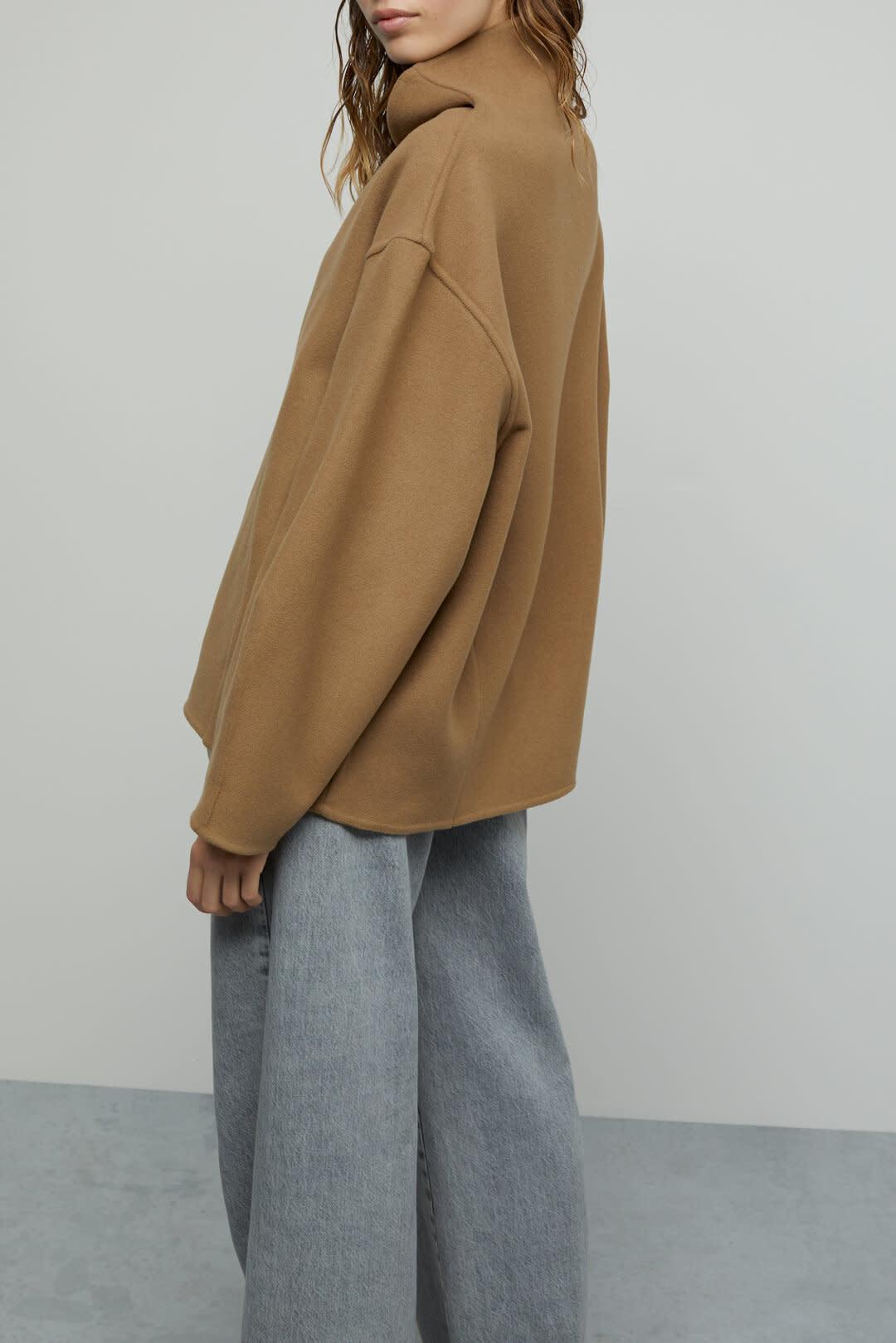 Wool Cashmere Overshirt - Dark Tan-2