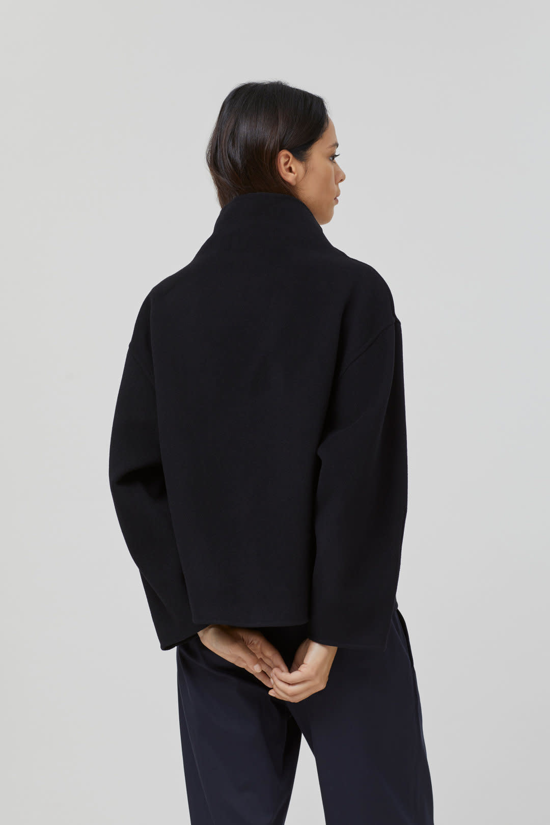 Wool Cashmere Overshirt - Black-2