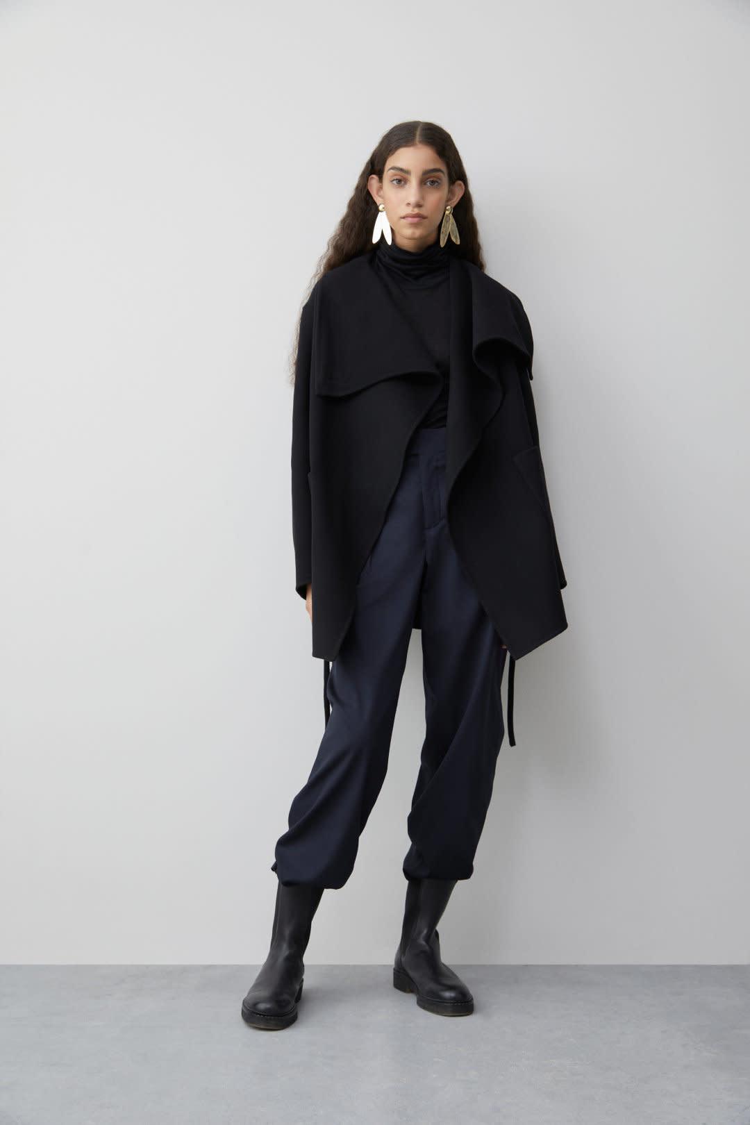 Double Face Cashmere Jacket - Black-1