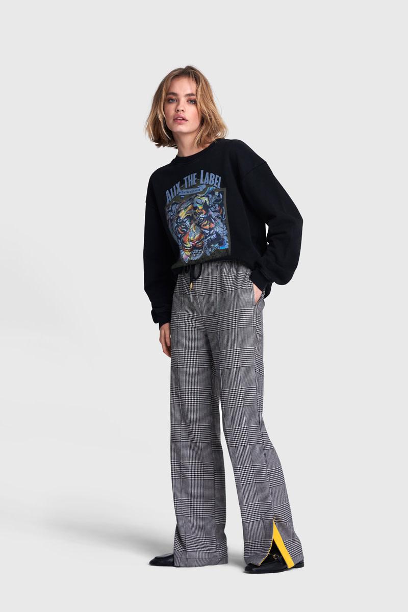 Woven Check Pants - Black/White-1