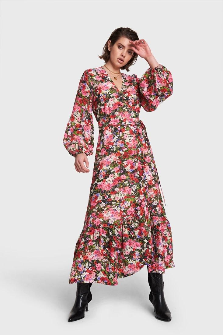 Maxi Wrap Dress - Flower Pink-1