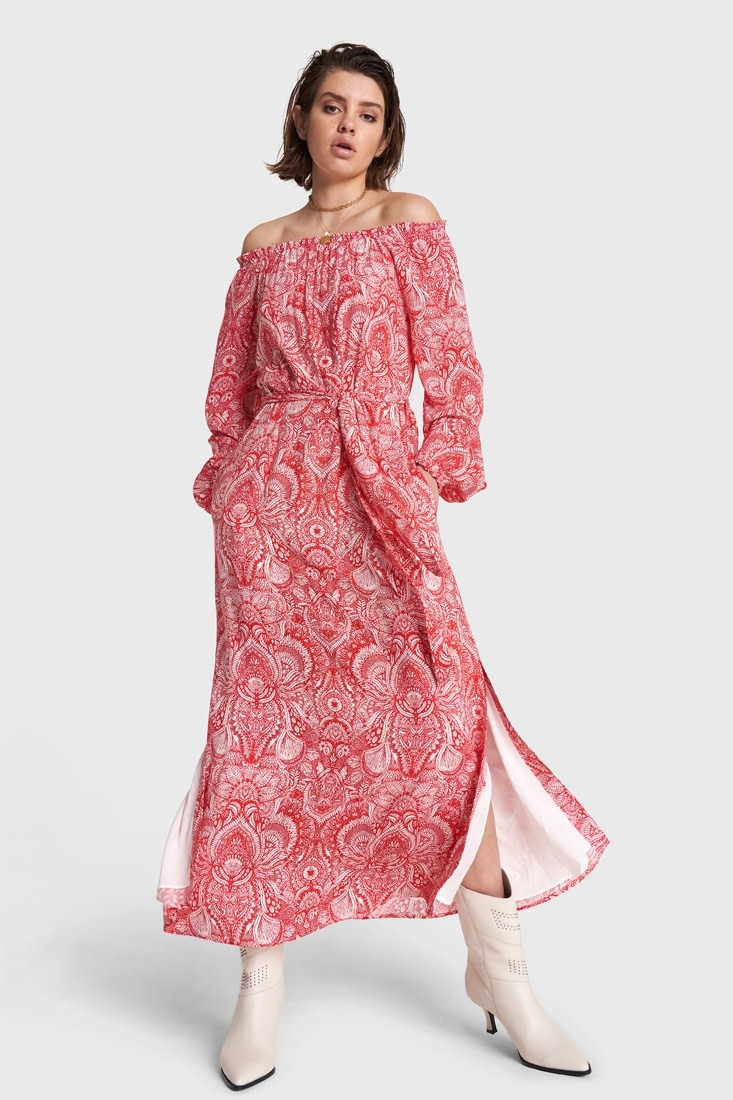 Off-Shoulder Maxi Dress - Red-1