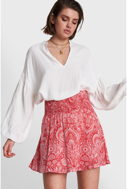 Palmtree Embroidered Blouse - White
