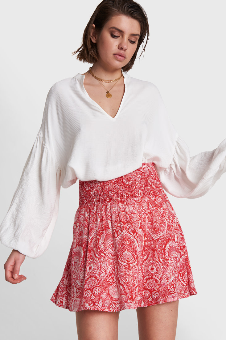 Palmtree Embroidered Blouse - White-1
