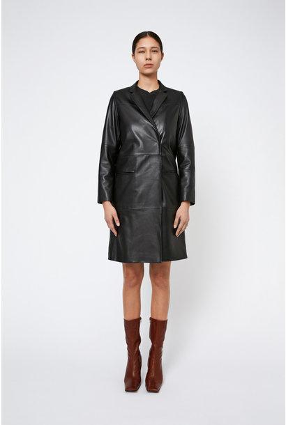 Catelyn Leather Coat - Black