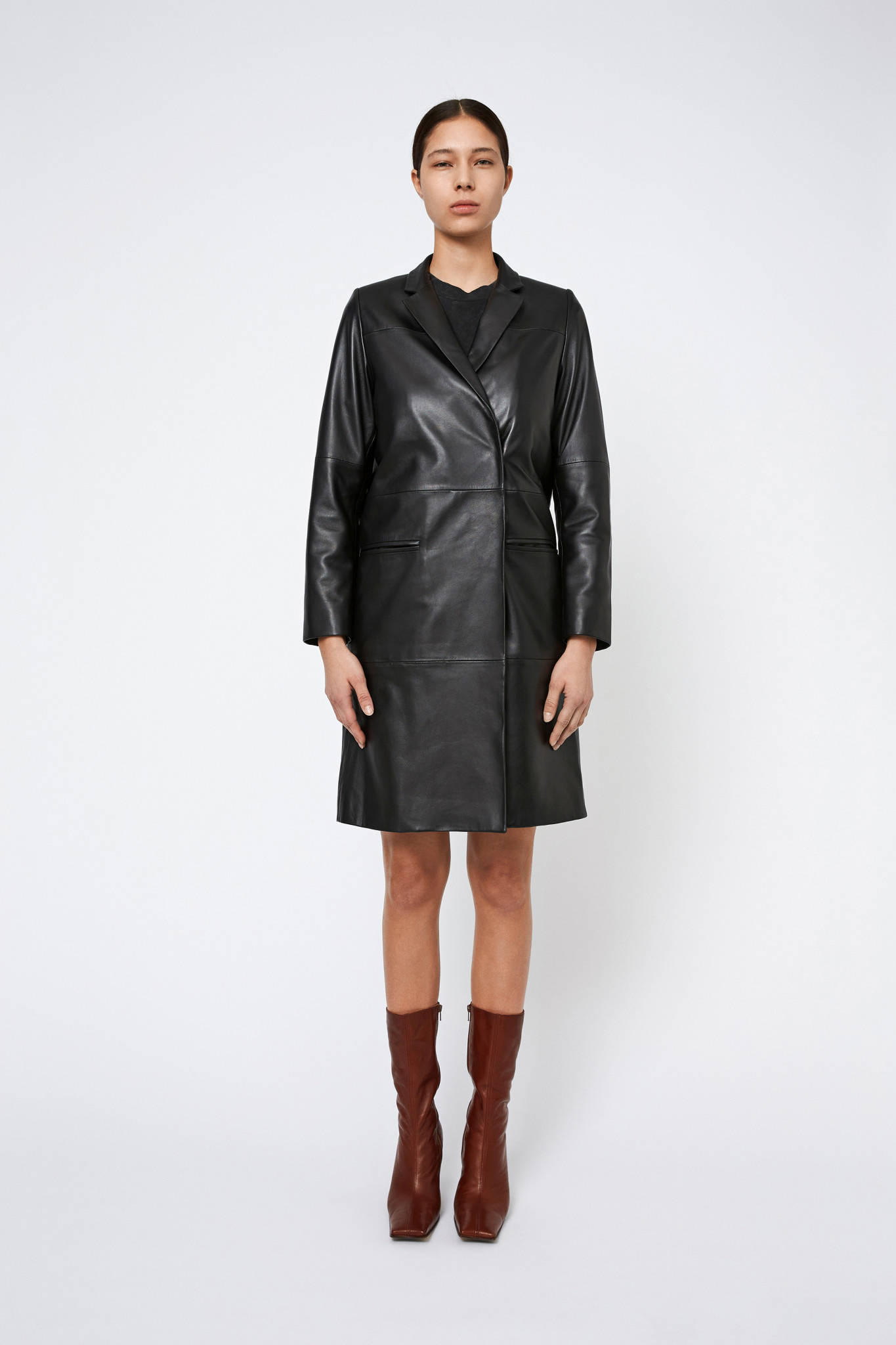 Catelyn Leather Coat - Black-1