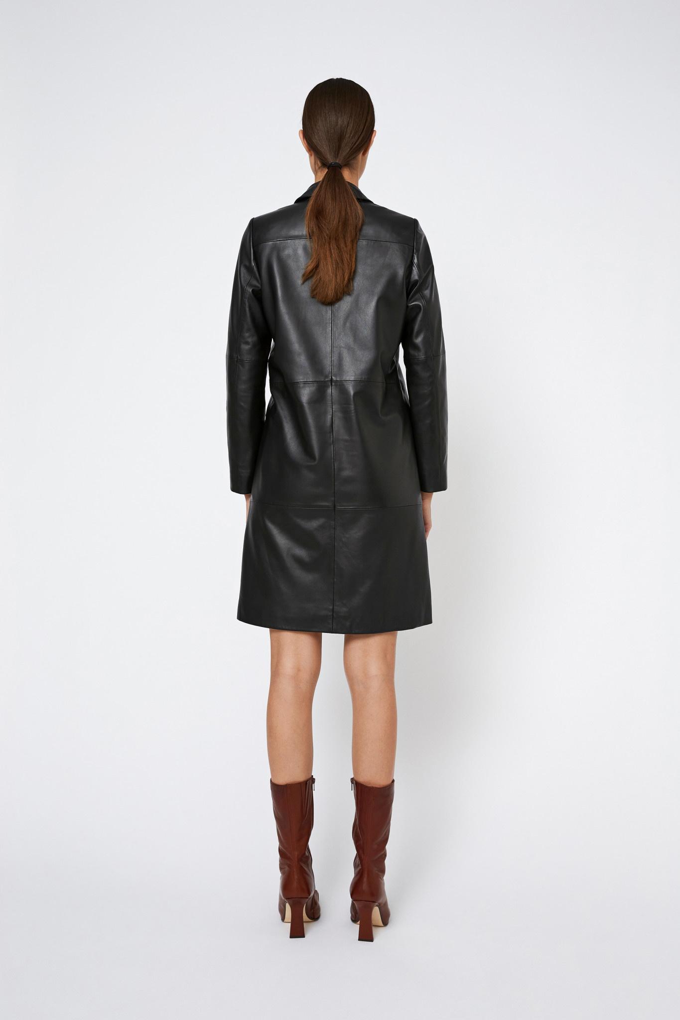 Catelyn Leather Coat - Black-2
