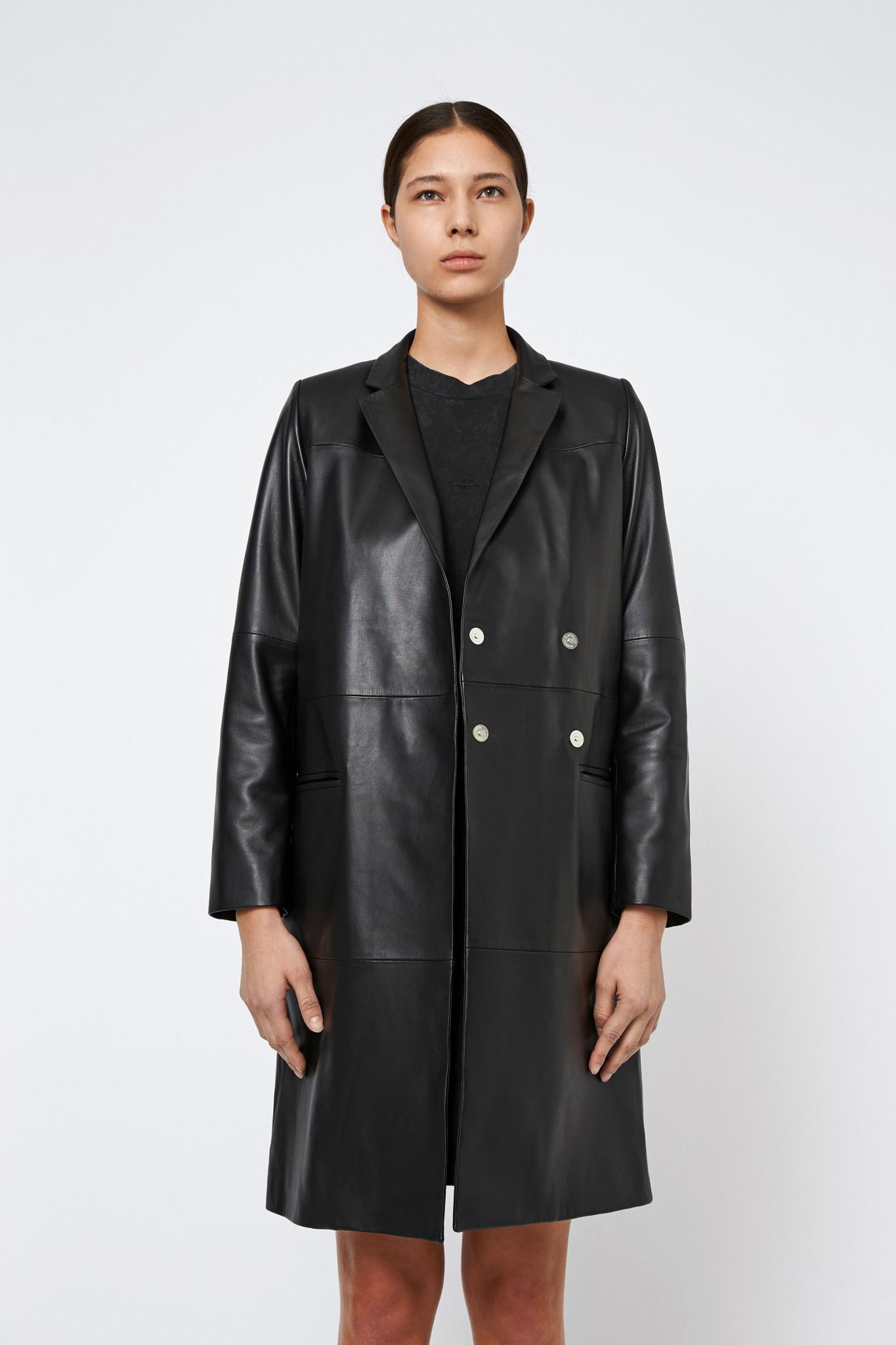 Catelyn Leather Coat - Black-3