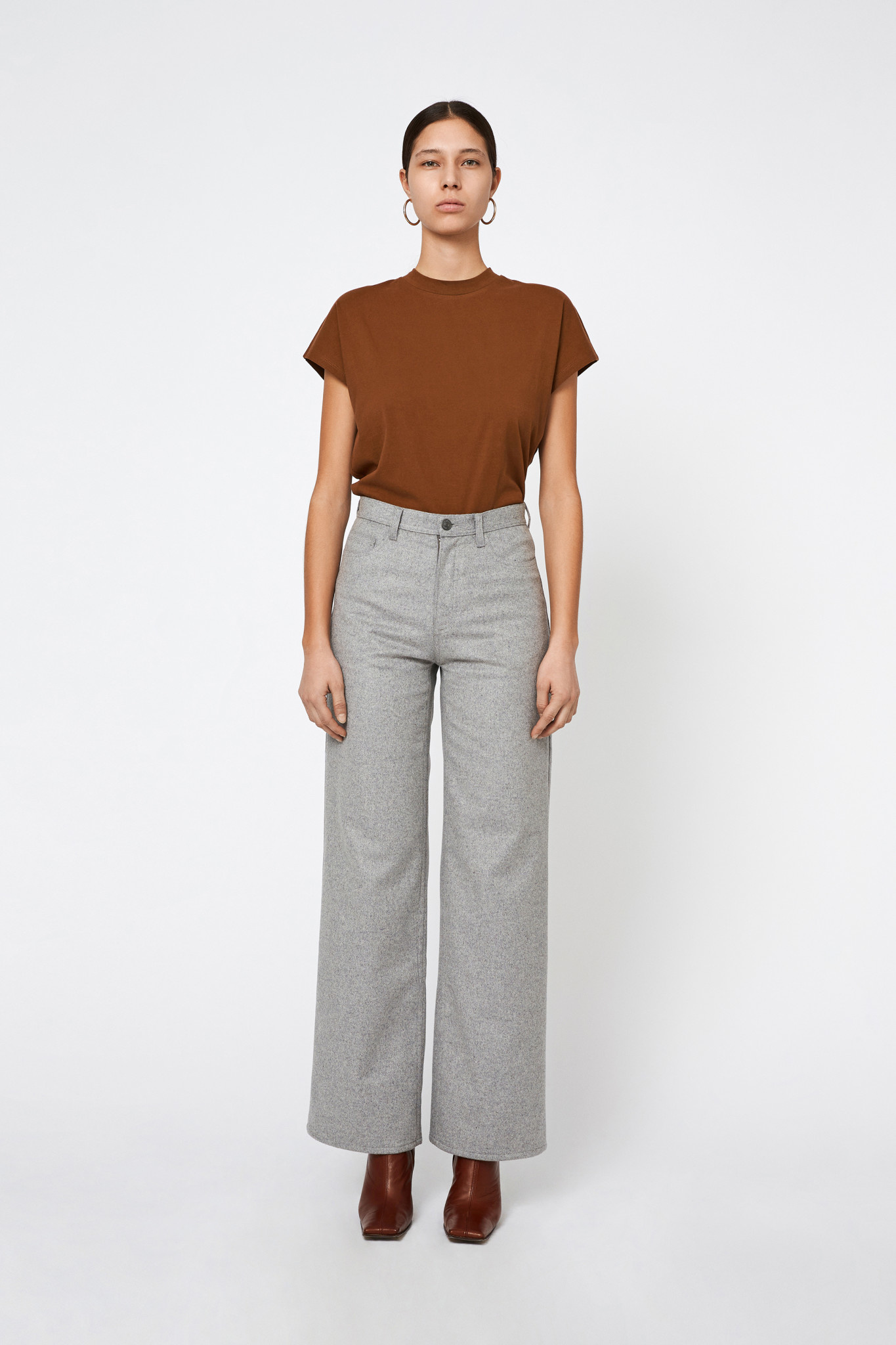 Kiri Long Flair Pants - Grey-1