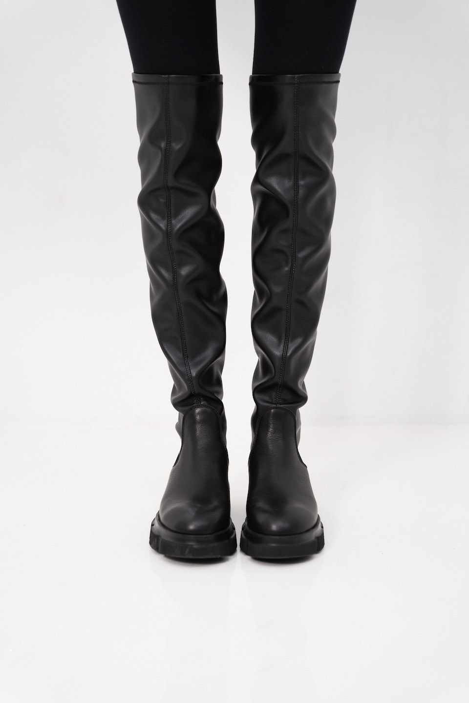 CPH544 Vitello/Vegan High Boots - Black-1