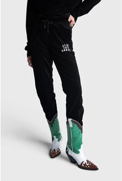 Rib Velvet Pants - Black