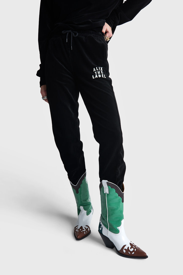 Rib Velvet Pants - Black-1