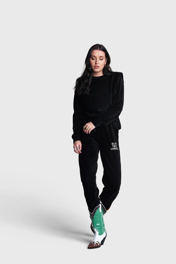 Rib Velvet Pants - Black-2