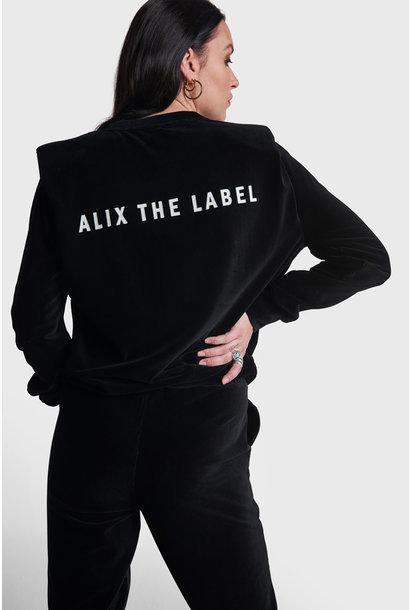 Rib Velvet Sweater - Black