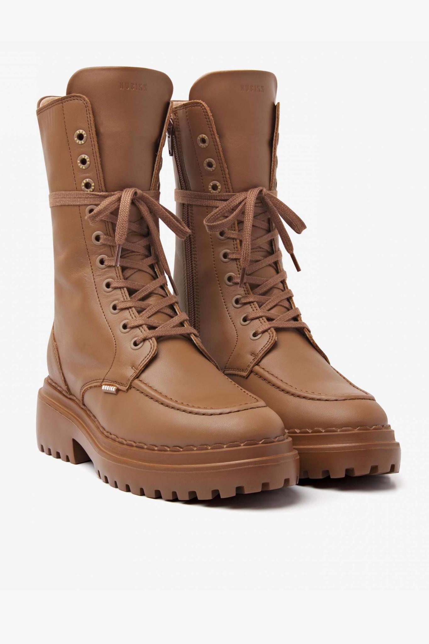 Fae Aubine Biker Boots - Hazel-1