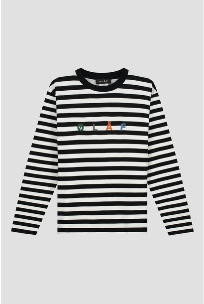 Stripe Sans LS Tee - White / Black