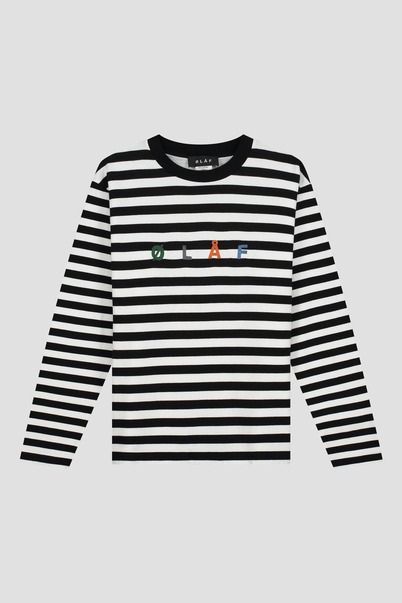 Stripe Sans LS Tee - White / Black-1