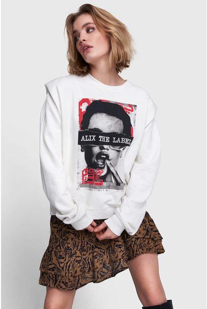 Oversized Photo Sweater - White