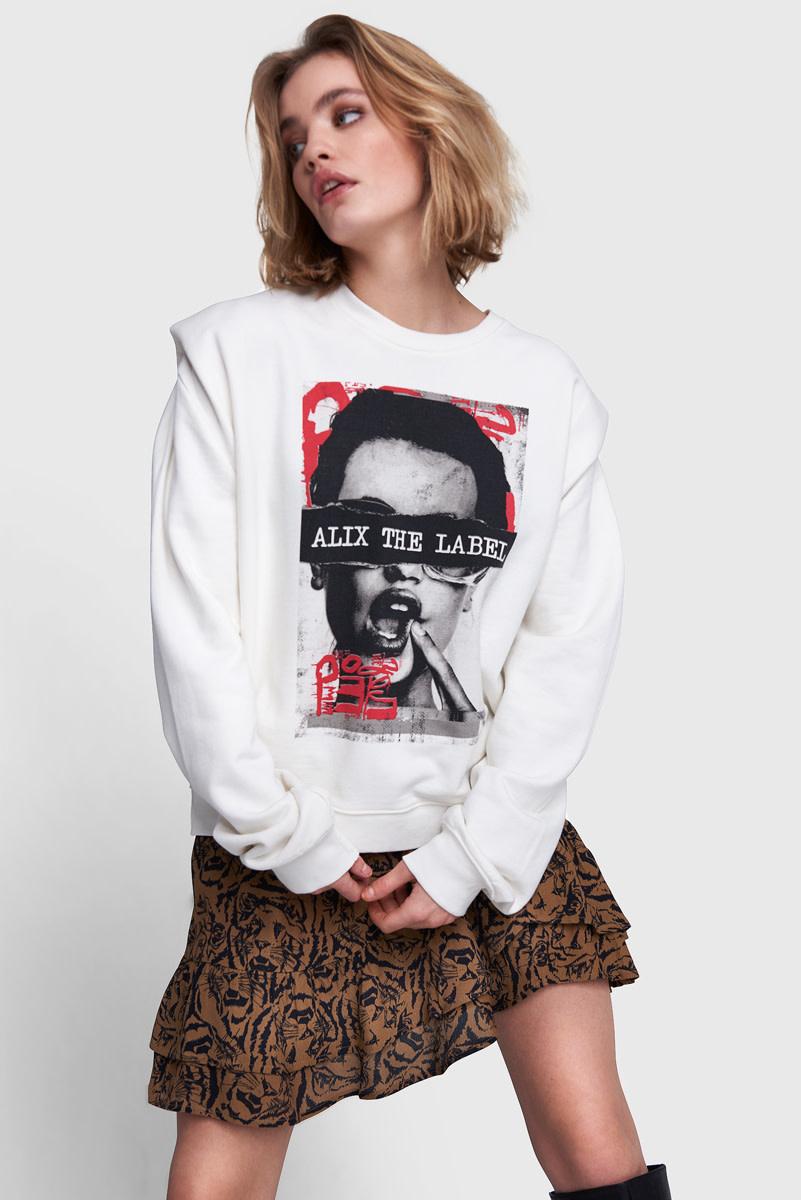 Oversized Photo Sweater - White-1
