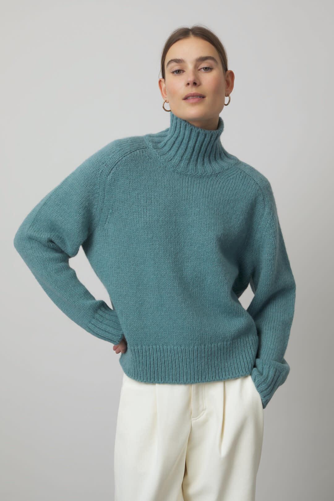 Alpaca Mix Knit Sweater - Teal-1
