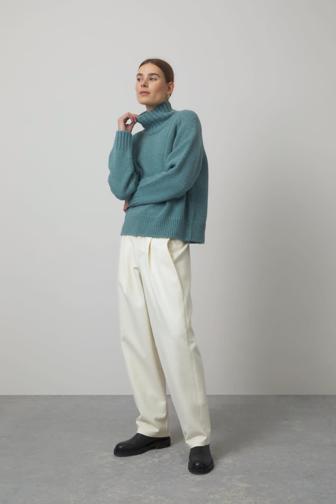 Alpaca Mix Knit Sweater - Teal-2
