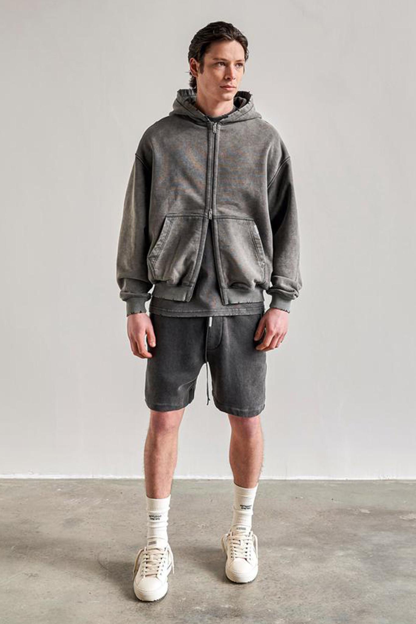 Blank Zip Hoodie - Vintage Grey-1