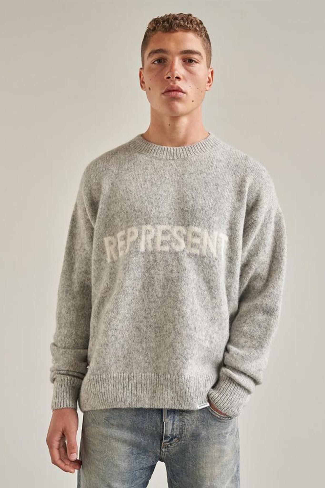 Mock Neck Sweater Alpaca Wool - Grey-1