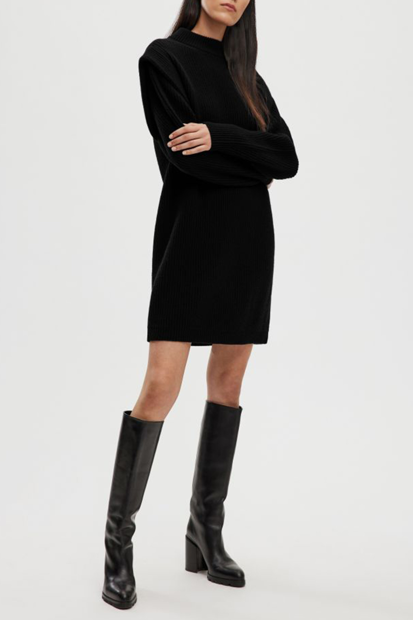 Cheren Wool Dress - Black-1