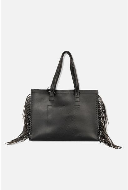 Faux Leather Shopper - Black