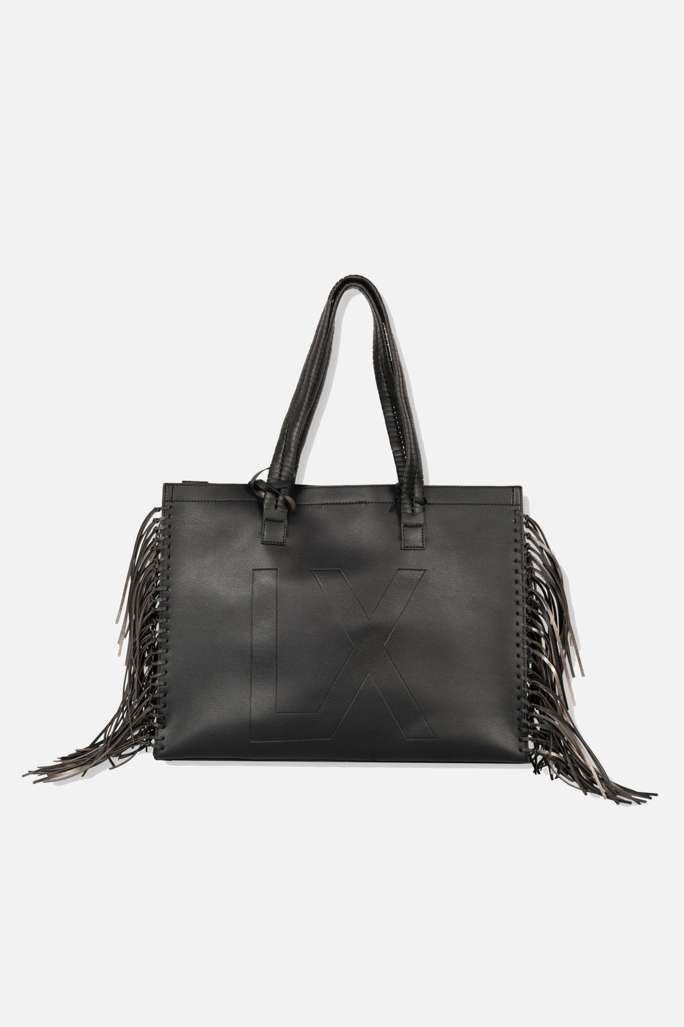 Faux Leather Shopper - Black-1