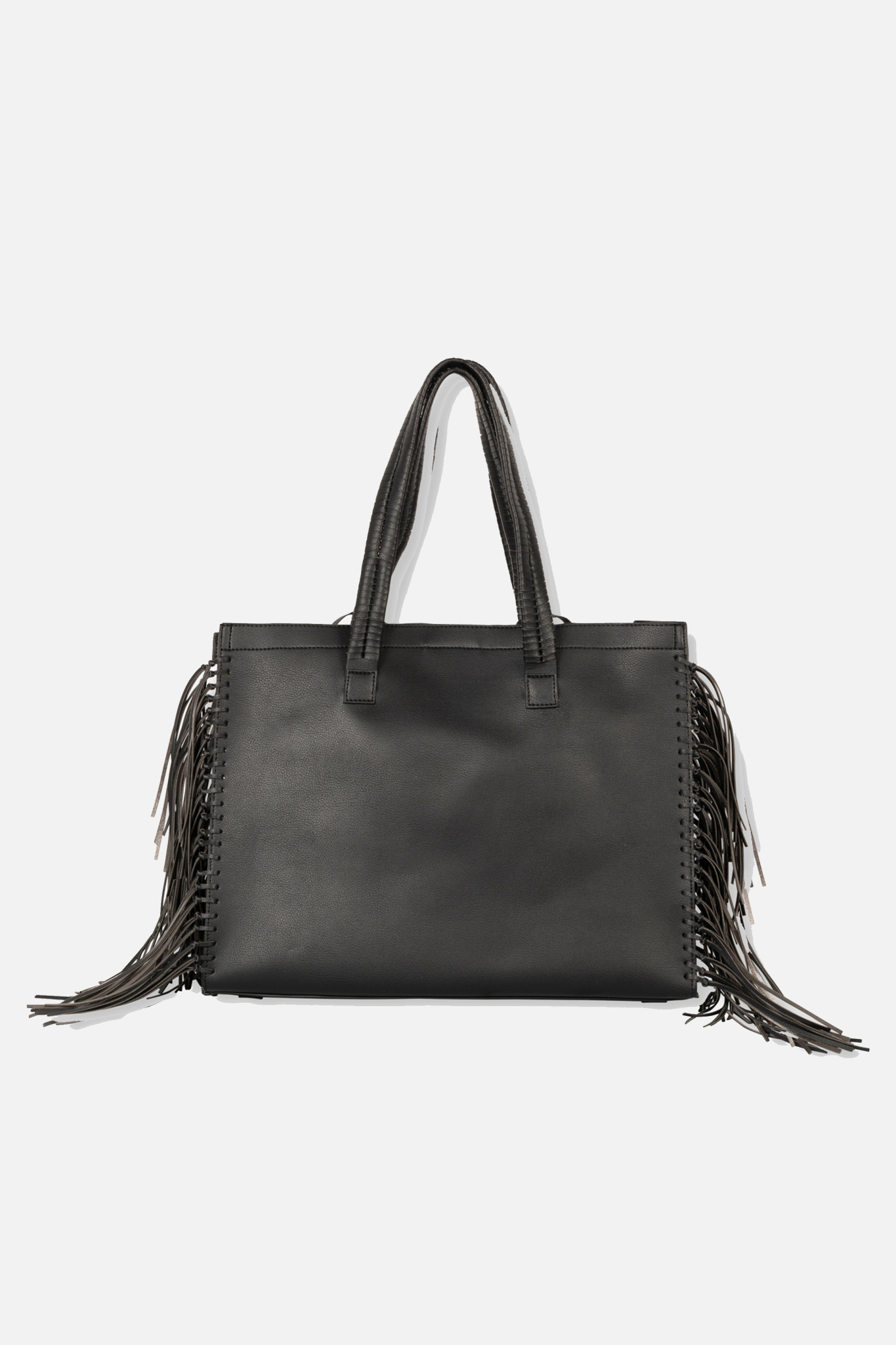 Faux Leather Shopper - Black-2