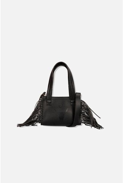 Faux Leather Shoulder Bag - Black
