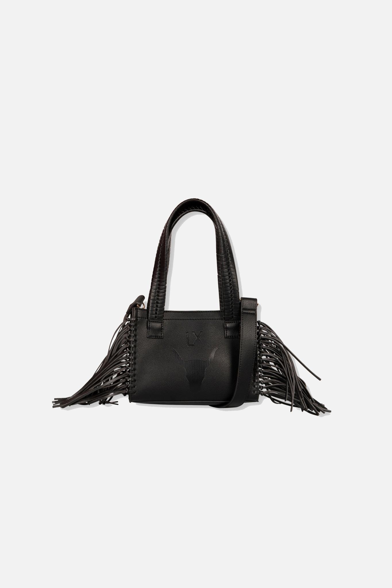 Faux Leather Shoulder Bag - Black-1