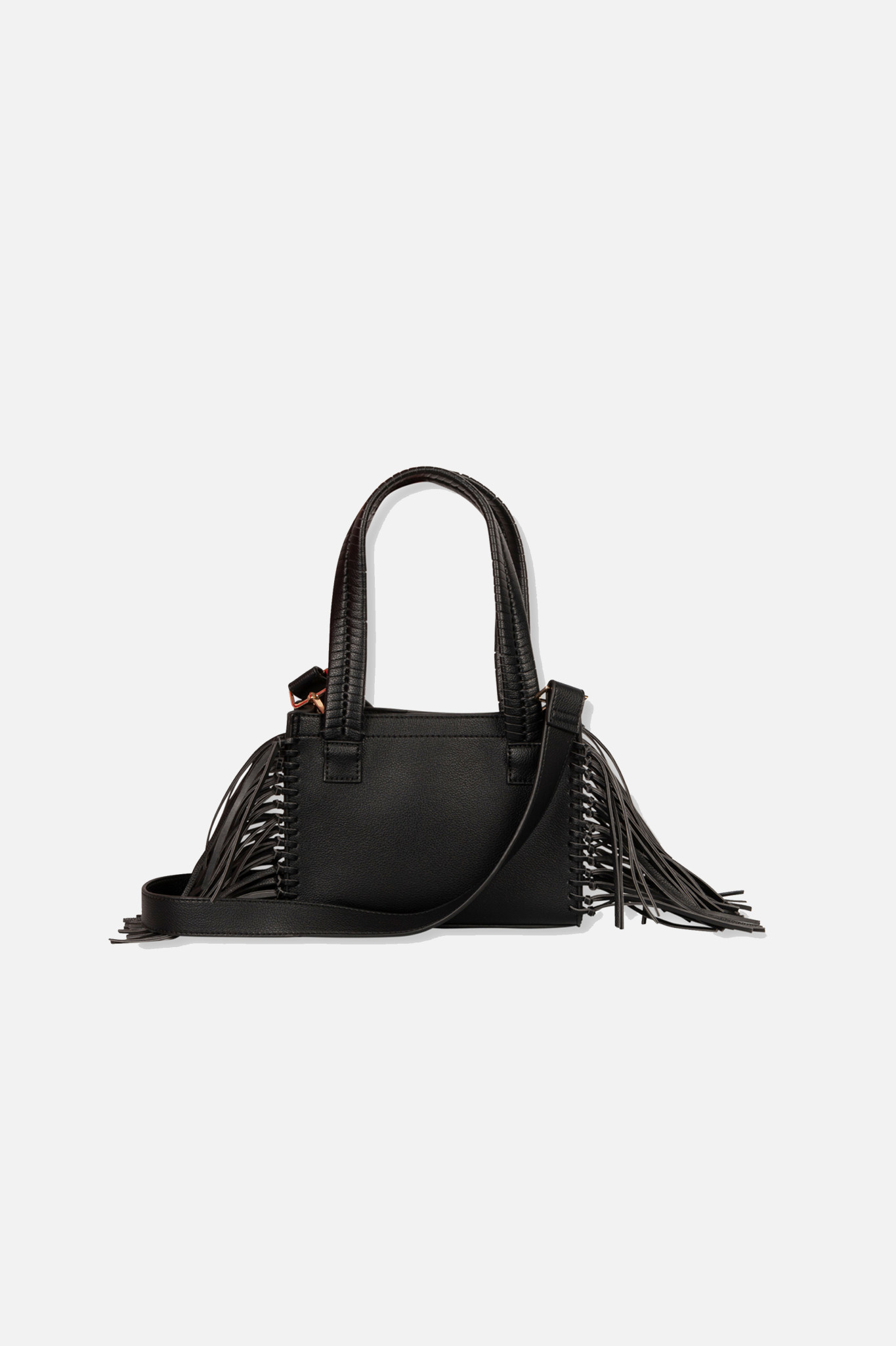 Faux Leather Shoulder Bag - Black-2