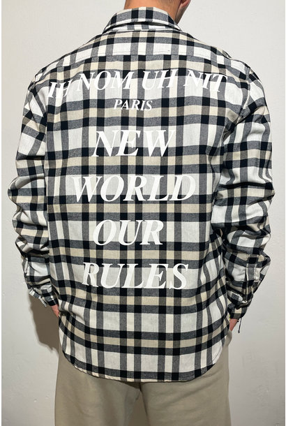 Flannel Quote and Logo - Beige/Black