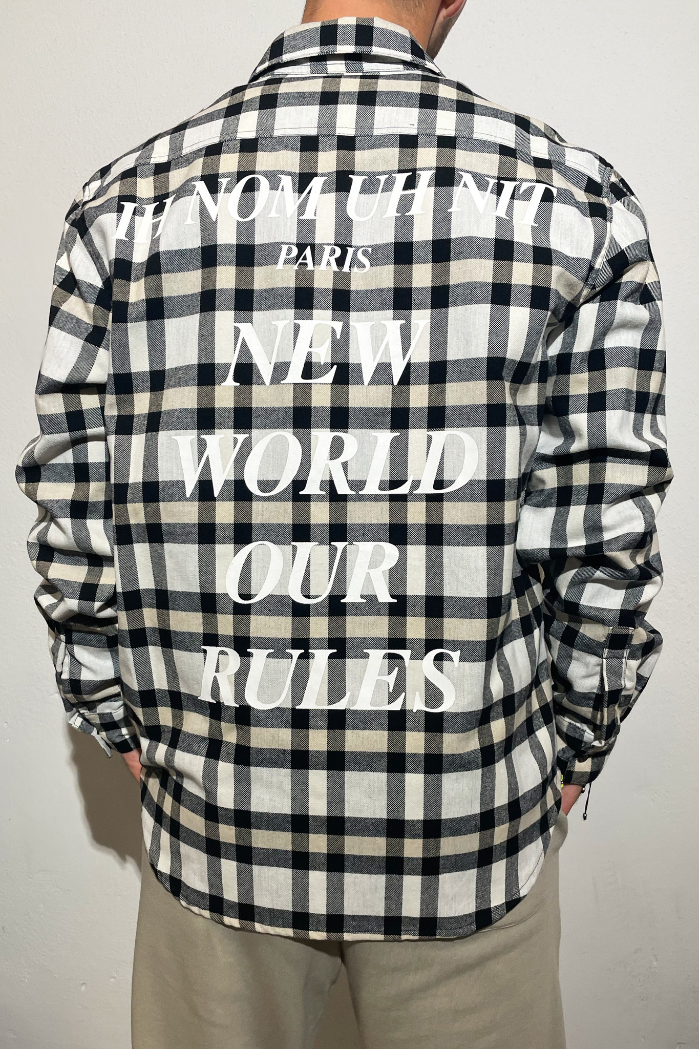 Flannel Quote and Logo - Beige/Black-1