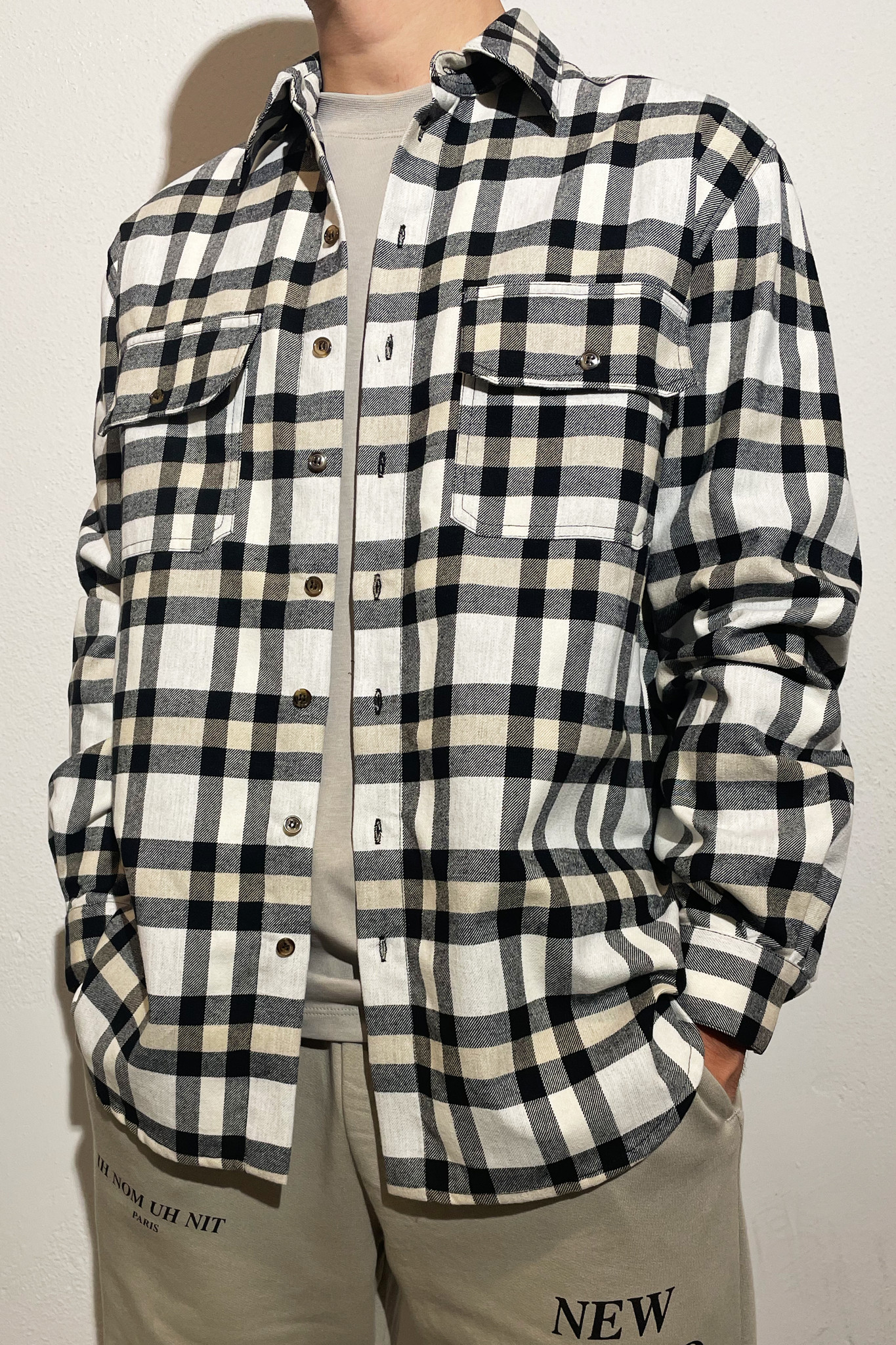 Flannel Quote and Logo - Beige/Black-2