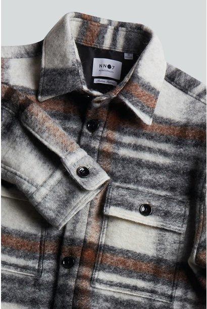 Soren Wool Blend Overshirt - Brown Check