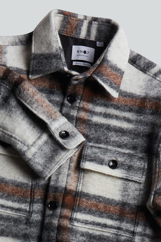 Soren Wool Blend Overshirt - Brown Check-1