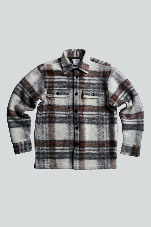 Soren Wool Blend Overshirt - Brown Check-2
