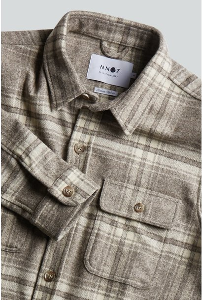 Soren Wool Blend Overshirt - Khaki Check