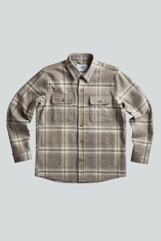 Soren Wool Blend Overshirt - Khaki Check-2