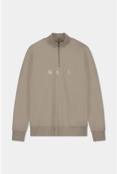 Zip Sweater Embroidered Logo - Grey