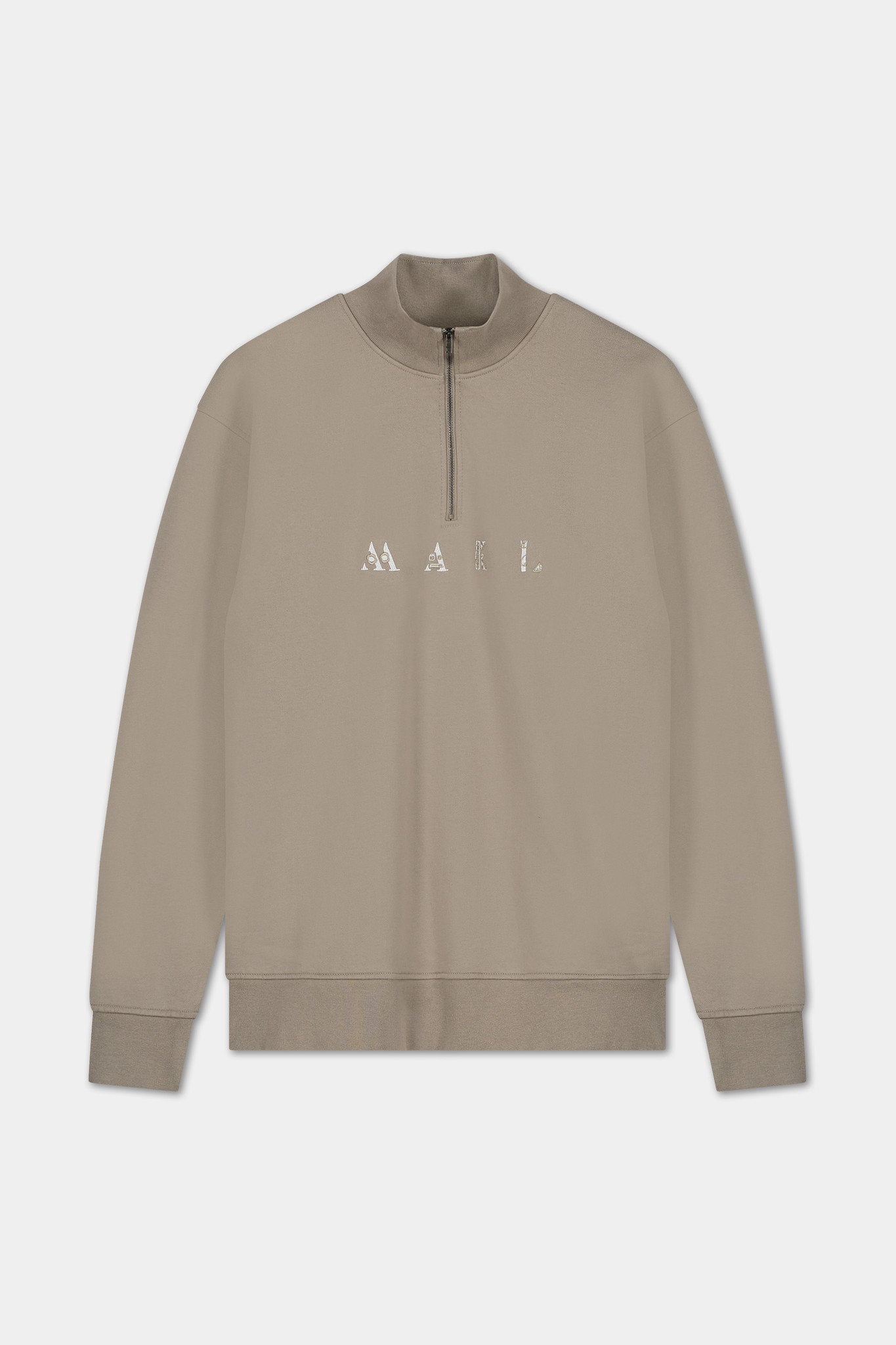 Zip Sweater Embroidered Logo - Grey-1