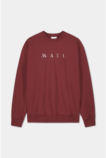 Sweater Embroidered Logo - Bordeaux