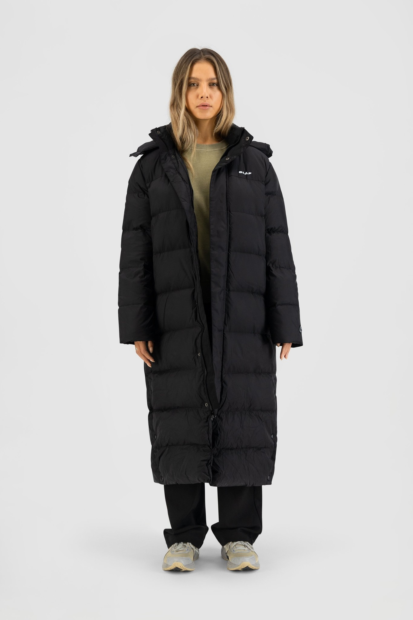 Long Puffer Jacket - Black-1